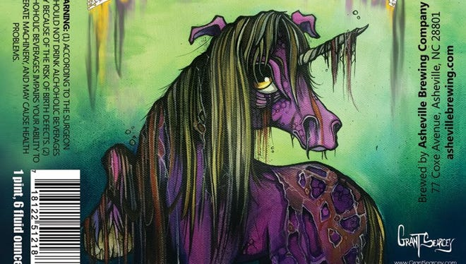 A candidate for Asheville Brewing's Zombie Unicorn beer label by Grant Searcey, a member of Asheville's ZaPow gallery.