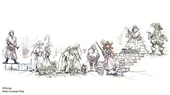 Although sketches are rarely as detailed as this rendering of the Pirates of the Caribbean, visit Disneyana for one-of-a-kind drawings from animators who occasionally drop by to work in public. Prices start at $50
