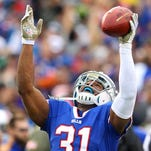 Bill safety Jairus Byrd celebrates his second interception of Jets QB Geno Smith.