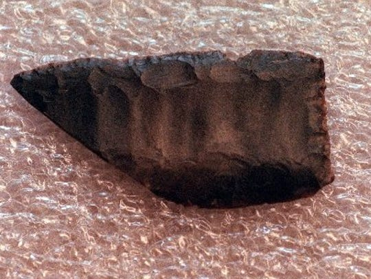 A broken spear point from the Lindenmeier Site that