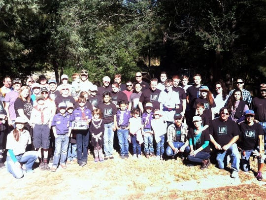 Many of the volunteers who helped clean up trash along