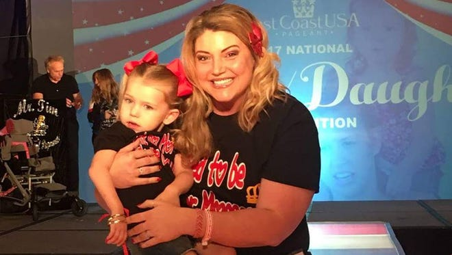Mindy (right) and Ruby Hoffman, of West Manchester Township, were named Mother-Daughter Queens at the East Coast USA Pageant in July. They signed up to raise awareness for H-ABC, a rare brain disease that Ruby was diagnosed with last year.