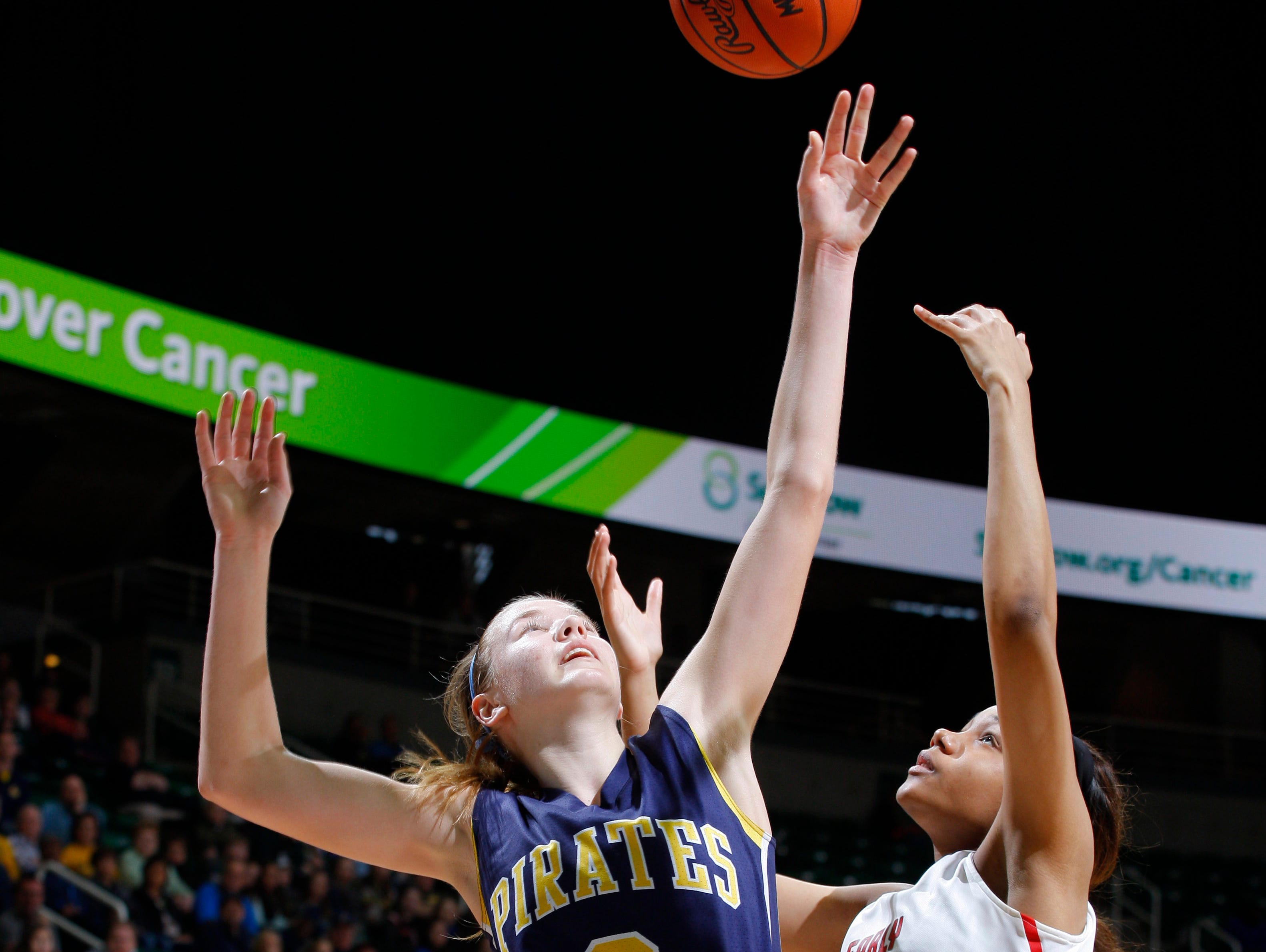 Pewamo-Westphalia's Hannah Spitzley (3) puts up a shot and gets fouled by Detroit Edison's Ashley Primas (15) during their MHSAA Class C championship game, Saturday, March 18, 2017, in East Lansing, Mich. P-W fell 46-44.