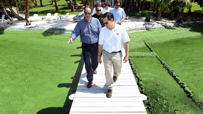 """It looked like an open sewer pit. It looked like a septic tank,"" said Sen. Marco Rubio (center right) after visiting the residence of Bob Mark of Stuart on July 1, 2016, along with Florida state Sen. Joe Negron (center left) and others during Rubio's visit to the Treasure Coast to examine the algae pollution in the St. Lucie River."