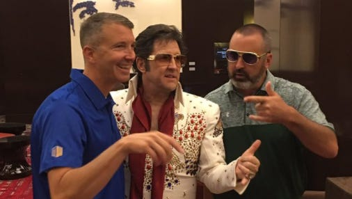 San Jose State coach Brent Brennan, the King* and Hawaii coach Nick Rolovich.   *Elvis impersonator.