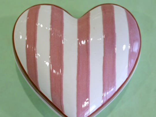A heart shaped box that can be painted to your liking from Kiln Creations located at 60 North 9th Street in Noblesville.