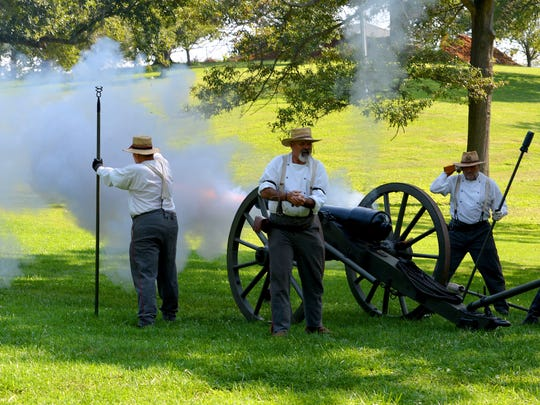 Members of Staunton Artillery demonstrate the firing