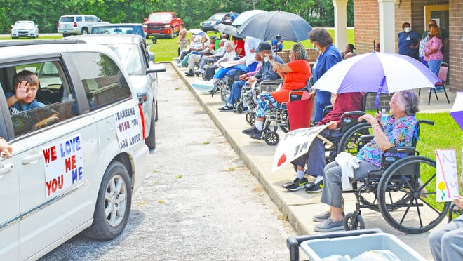 Residents of Williston Healthcare & Rehab were able to briefly see their loved ones during a June 3 parade held in the parking lot. Residents lined the sidewalk as loved ones drove by in their decorated vehicles.