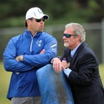 General manager Ryan Grigson, left, and owner Jim Irsay aren't making many big changes this offseason.
