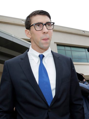 Michael Phelps outside a courtroom in Baltimore, where