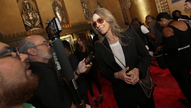 "Director Kathryn Bigelow, fielded questions from reporters at Tuesday night's world premiere of ""Detroit"" at the Fox Theatre."