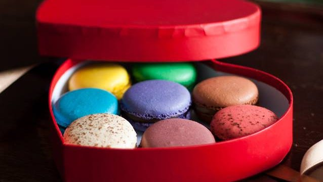 Get your loved one a heart-shaped box of macaroons from CH Patisserie for Valentine's Day.