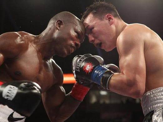 Timothy Bradley and Ruslan Provodnikov were awarded Ali Frazier Award Fight of the Year for the year 2013 by the Boxing Writers Association of America during the 89th annual awards dinner in Las Vegas on May 1, 2014. These are images of that fight.