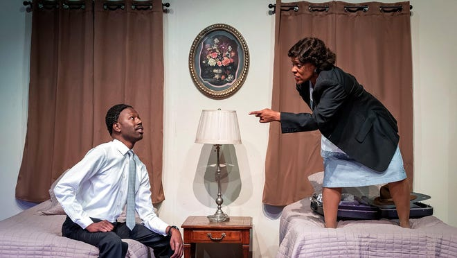 "Hayes Moses, left, and Carla Hughes play the only two characters in ""The Mountaintop,"" available for viewing this weekend from the Erie Playhouse."