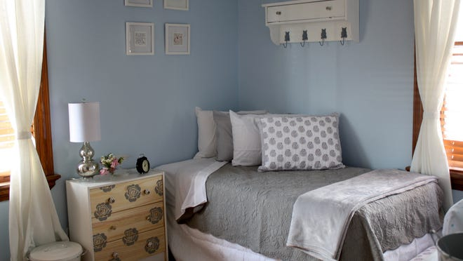 A guest room at Lydia's House, a shelter serving homeless women and their children in Norwood.