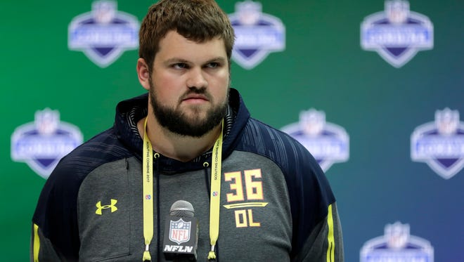 Wisconsin offensive lineman Ryan Ramczyk speaks during a news conference at the NFL football scouting combine Thursday, March 2, 2017, in Indianapolis.