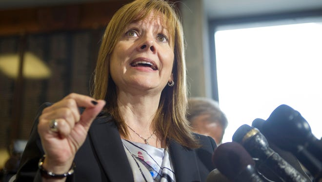 General Motors CEO Mary Barra speaks during a news conference on Capitol Hill in Washington on June 18 following her testimony before the House Oversight and Investigations subcommittee.