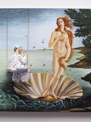 """A painter perched on a half shell contemplates """"Michelangelo's Venus,"""" part of Stephen Hansen's """"Great Moments in Art"""" series."""