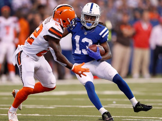 Indianapolis Colts wide receiver T.Y. Hilton (13) puts a move on Cleveland Browns free safety Jabrill Peppers (22) in the first half of their game at Lucas Oil Stadium Sunday, Sept. 24 2017.