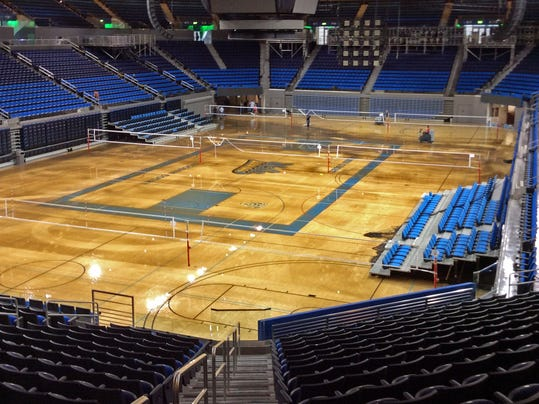 Water covers the playing floor of Pauley Pavilion, home of UCLA basketball, after a 30-inch water main burst on nearby Sunset Boulevard on the campus in the Westwood district of Los Angeles Tuesday, July 29, 2014. (AP Photo/Matt Hamilton)