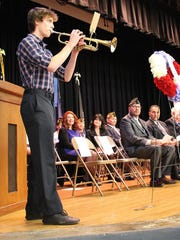 "Sam Paulson gave a solo trumpet performance of ""God Bless America"" during the Veterans Day program at the Hammonton Middle School on Friday night."