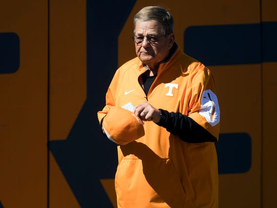 Tennessee softball co-head coach Ralph Weekly spes onto the field before the game against Southern Alabama in the Tennessee Invitational on Sunday, March 4, 2018.