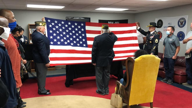 Area veterans participate in memorial service Tuesday morning for Mark Hackett, a private first class member of the United States Army who died at the age of 69 on Aug. 29 after coming to Amarillo a little more than a year ago.