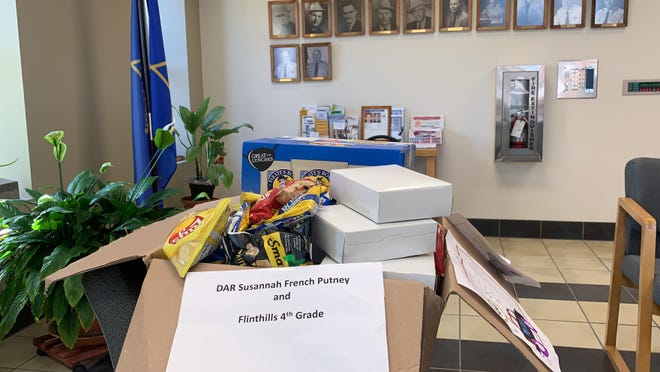 Letters and drawings from 4th grade students at Flinthills Elementary accompanied the snacks donated by the Susannah French Putney Chapter of the DAR.