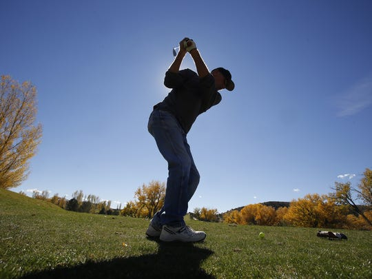 Rod Wimsatt tees off Nov. 3 2015, at the Hidden Valley Golf Course in Aztec. Outgoing Aztec City Commissioner Sheri Rogers cites the survival of the golf course as one of the commission's biggest accomplishments during her tenure.