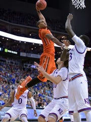 Oregon State guard Gary Payton II (1), shown here going up for a dunk in the Kansas game, leads the Beavers in scoring, rebounding, assists and steals.