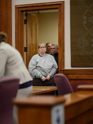 Patricia Prue enters a St. Johnsbury courtroom Thursday to plead guilty to the murder of St. Johnsbury Academy teacher Melissa Jenkins.