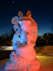 Team USA carved a fanciful rabbit for its 2014 sculpture.