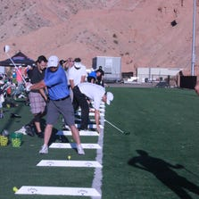 Long Drivers warm up at the qualifiers event last Saturday.