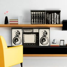A fun canvas storage system, with bins that are printed with iconic retro imagery like a TV set, boombox and 80s style speakers.