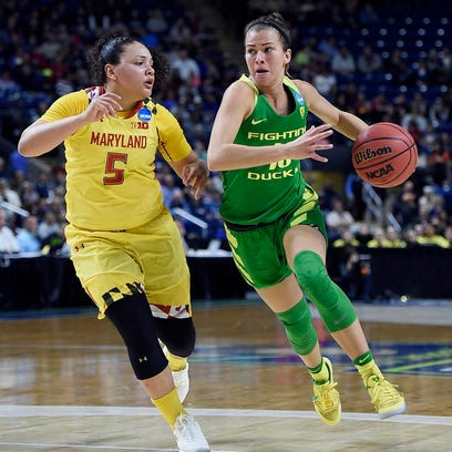 Oregon's Lexi Bando, right, dribbles as Maryland's