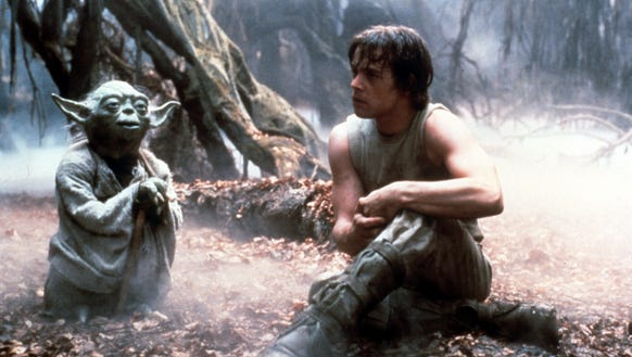 Yoda and Luke Skywalker hang out and chat about the