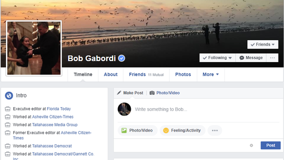 Political fighting has spilled onto Florida Today's Executive Editor Bob Gabordi's personal Facebook page.