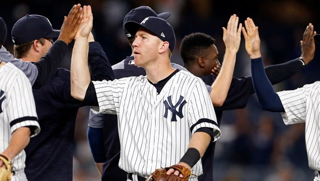 """It was like a whole new season for me and Dave (Robertson) and Tommy (Kahnle) to come and get going,"" Todd Frazier, above, said of him and his former White Sox teammates being traded to the Yanks before the July trade deadline. ""You're playing for such a prestigious ballclub, you want to get going right away."""