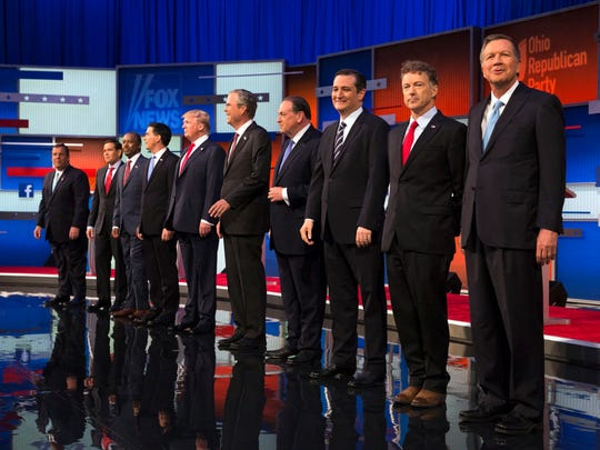 GOP candidates, from left, Chris Christie, Marco Rubio,