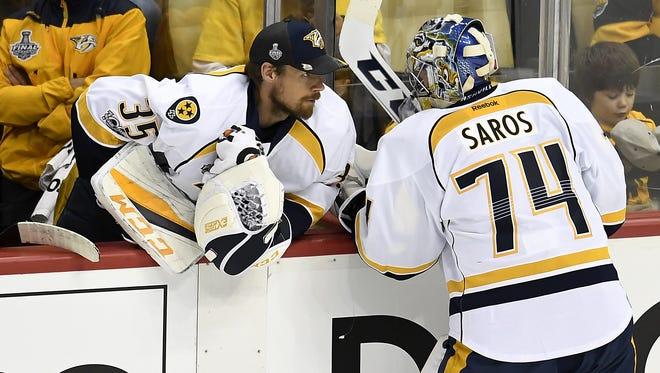Predators goaltenders Pekka Rinne and Juuse Saros will be the team's tandem again this season.