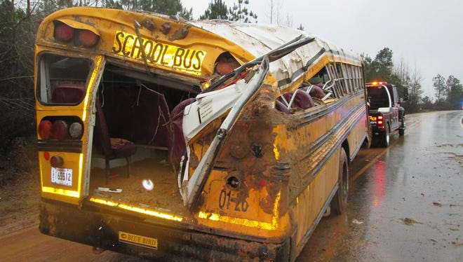 "A ""large amount of mud"" on the road is considered a factor in an early morning school bus crash that injured the driver and 11 children in a rural portion of Rapides Parish, according to Louisiana State Police."