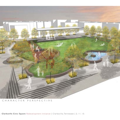 Architect's rendering of proposed Civic Park Plaza