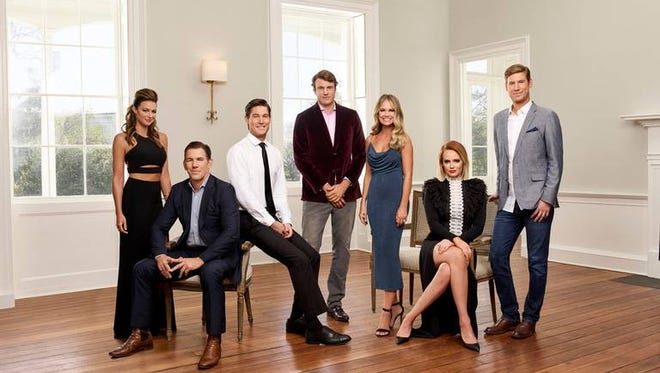 """Pictured, from left, are the stars of """"Southern Charm,"""" Chelsea Meissner, Thomas Ravenel, Craig Conover, Shep Rose, Cameran Eubanks, Kathryn Dennis and Austen Kroll."""
