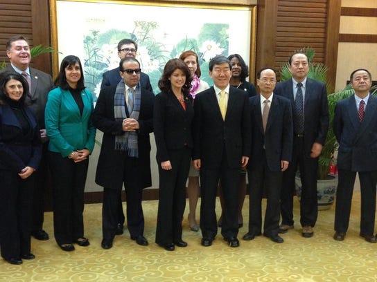 Lt. Gov. Rebecca Kleefisch, center, with a delegation