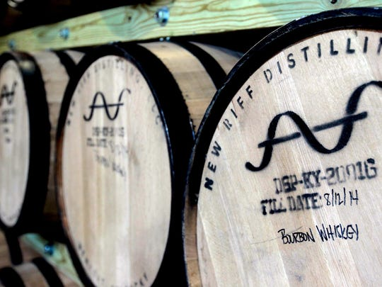 Barrels of bourbon are stored for aging at New Riff Distilling.