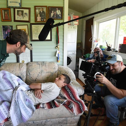 Director Dalton Coffey films a scene in his new movie,