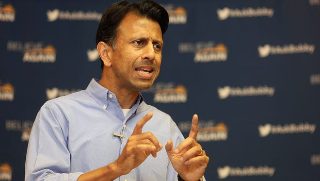 Louisiana Gov. Bobby Jindal speaks to community members during a town hall meeting at the American Legion in Dubuque, Ia., on Monday, July 13, 2015.