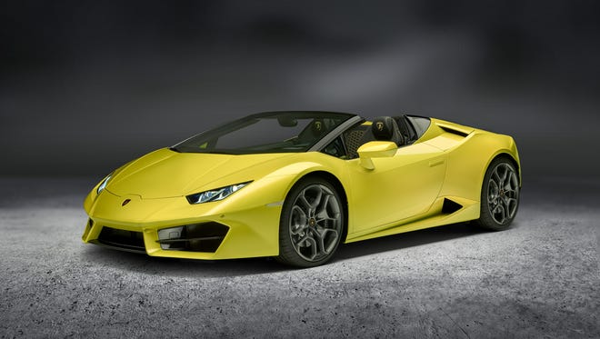 The Lamborghini Huracan Spyder is a rear-wheel-drive street racer, powered by a 5.2-liter, naturally aspirated V-10 engine that makes 580 horsepower and will rocket the car from zero to 60 miles per hour in less than 3.6 seconds.