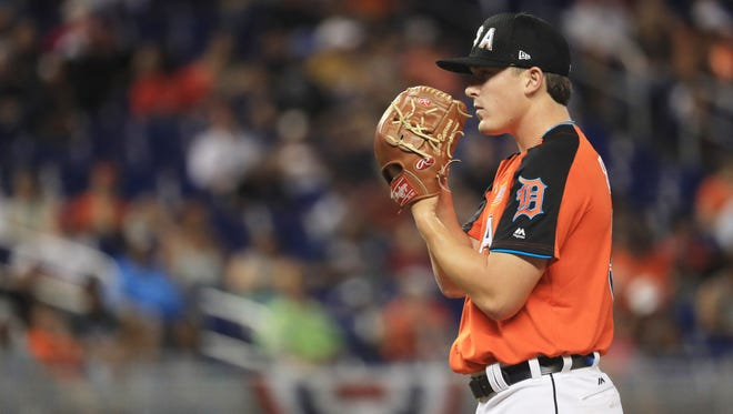 Detroit Tigers prospect and U.S. Team member Beau Burrows pitches against the World Team during the All-Star Futures Game at Marlins Park on July 9, 2017 in Miami.