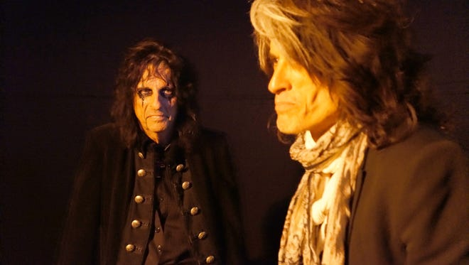 Alice Cooper, left, and Joe Perry from the musical group Hollywood Vampires. On Wednesday, Aug. 12, 2015, the band, which includes Johnny Depp, announced shows on Sept. 16 and 17, at The Roxy in West Hollywood, Calif.